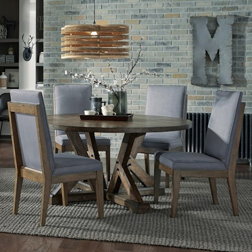 Broyhill Furniture Bedford Avenue 5 Piece Round Table and Upholstered Chair Set