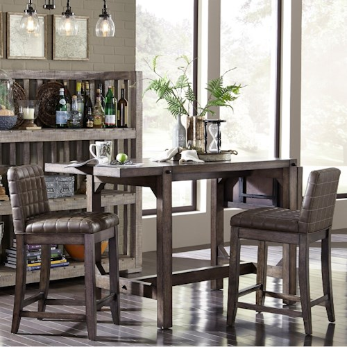 Broyhill Furniture Bedford Avenue 3 Piece Counter Height Drop Leaf Table and Upholstered Stool Set