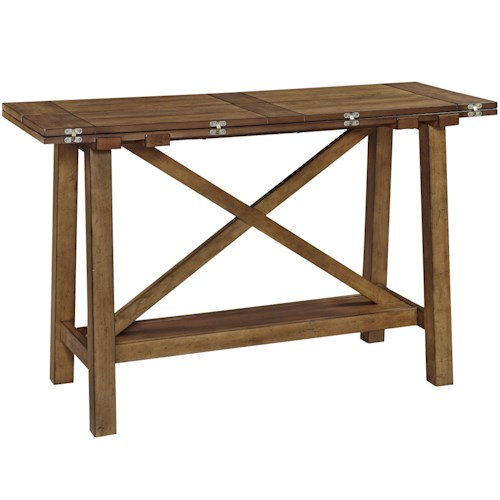 Broyhill Furniture Bethany Square Console Desk Table with Flip Top