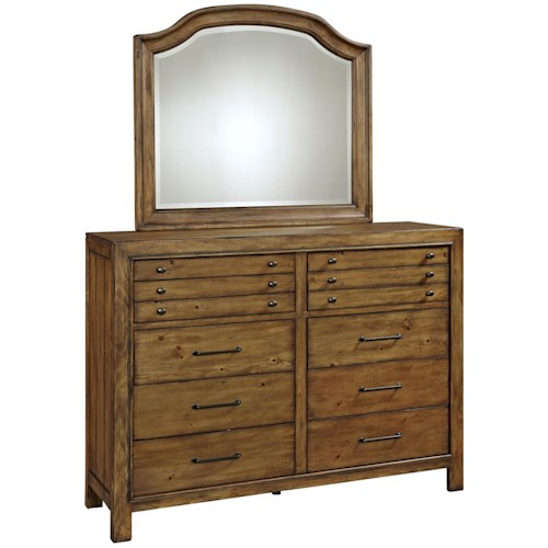 Broyhill Furniture Bethany Square 10 Drawer Chesser and Cove Mirror Set