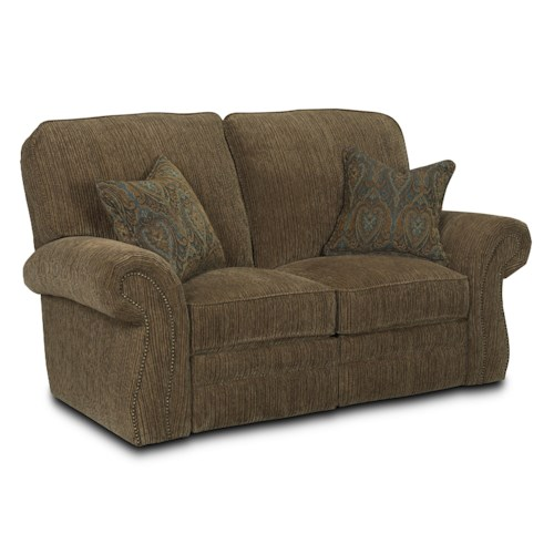 Lane Billings Traditional Reclining Loveseat with Rolled Arms and Nailhead Trim