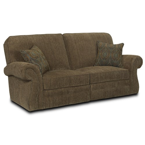 Lane Billings Traditional Reclining Sofa with Rolled Arms and Nailhead Trim