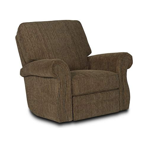 Lane Billings Traditional Power Rocker Recliner with Rolled Arms and Nailhead Trim