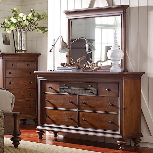 Broyhill Furniture Cascade 7-Drawer Dresser and Mirror Set