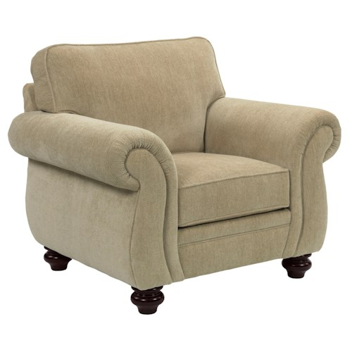 Broyhill Furniture Cassandra Traditional Stationary Chair with Large Rolled Arms