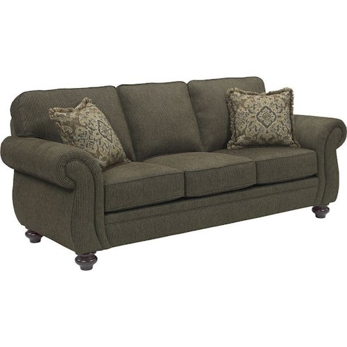 Broyhill Furniture Cassandra Traditional Stationary Sofa with Large Rolled Arms and Bun Feet