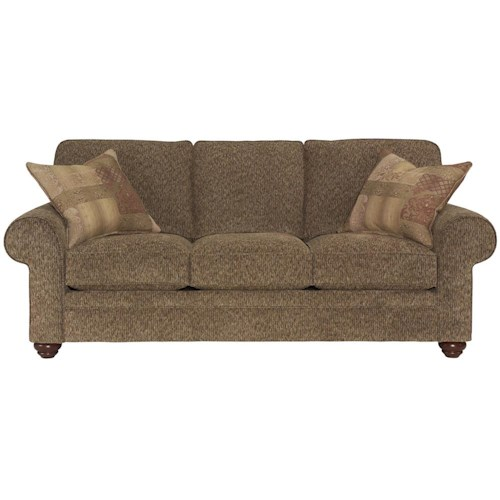 Broyhill Furniture Choices Upholstery 87 Inch Standard Sofa with Sock Arm, Boxed Border Semi-Attached Back, Turned Leg Base