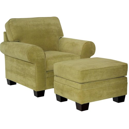 Broyhill Furniture Choices Upholstery Chair & Ottoman with Sock Arm, Boxed Border Semi-Attached Back & Wedge Foot Base