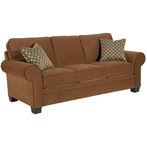 Broyhill Furniture Choices Upholstery 87 Inch Standard Sofa with Sock Arm, Boxed Border Semi-Attached Back & Wedge Foot Base