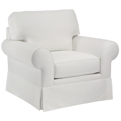 Broyhill Furniture Choices Chair with Sock Arm, Boxed Border Semi-Attached Back & Skirted Base