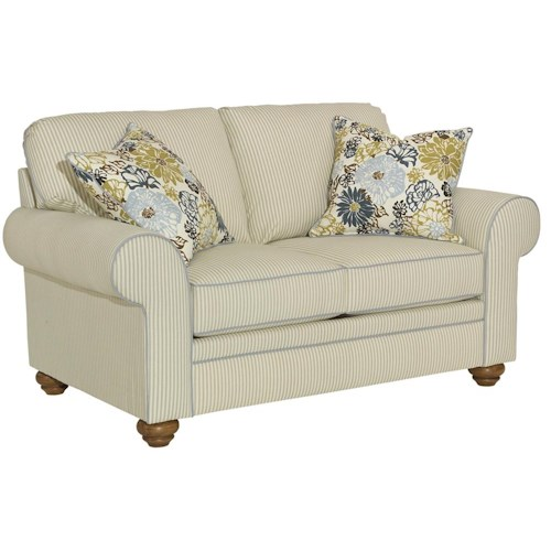 Broyhill Furniture Choices Upholstery Loveseat with Sock Arm, Round Knife Edge Semi-Attached Back and Skirted Base