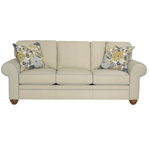 Broyhill Furniture Choices Upholstery 87 Inch Standard Sofa with Sock Arm, Round Knife Edge Semi-Attached Back & Skirted Base