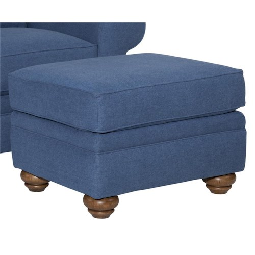 Broyhill Furniture Choices Upholstery Ottoman with Turned Leg Base