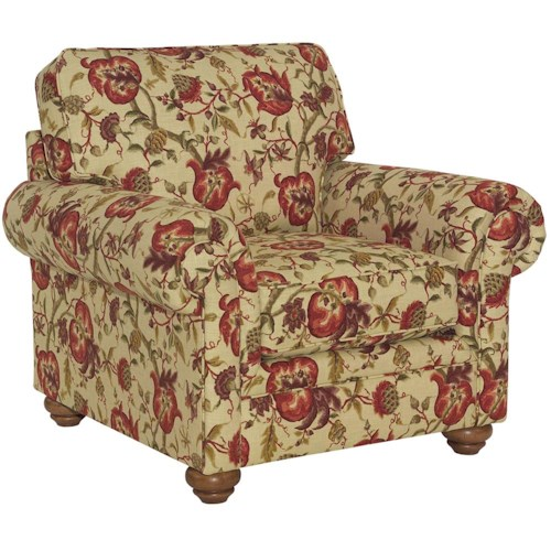 Broyhill Furniture Choices Upholstery Chair with Panel Arm, Boxed Border Semi-Attached Back & Turned Leg Base