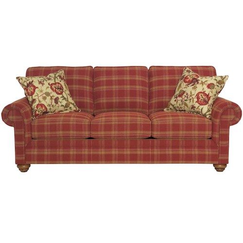 Broyhill Furniture Choices Upholstery 87 Inch Standard Sofa with Panel Arm, Boxed Border Semi-Attached Back & Turned Leg Base