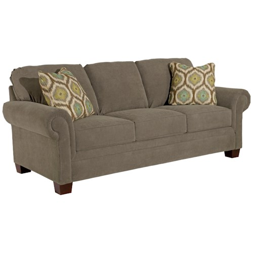 Broyhill Furniture Choices 87 Inch Standard Sofa with Panel Arm, Boxed Border Semi-Attached Back & Wedge Foot Base