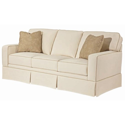 Broyhill Furniture Choices Upholstery 80 Inch Standard Sofa with Track Arm, Boxed Border Semi-Attached Back & Skirted Base