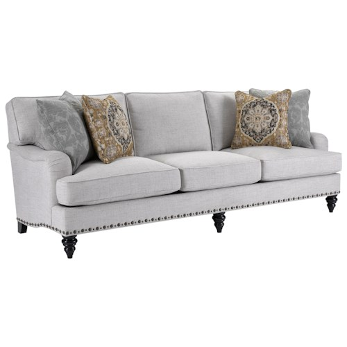 Broyhill Furniture Ester Traditional Sofa with Unique Nailhead Trim