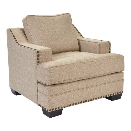 Broyhill Furniture Estes Park Contemporary Chair with T-Cushion and Nailhead Trim