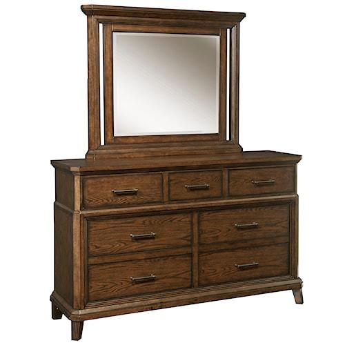 Broyhill Furniture Estes Park 7 Drawer Chesser with Beveled Glass Dresser Mirror Set
