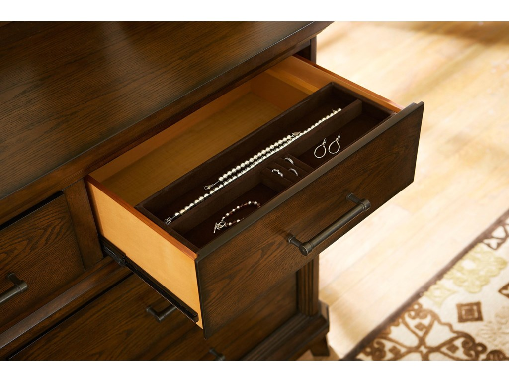 Drawer Includes Sliding Felt-Lined Jewelry Tray