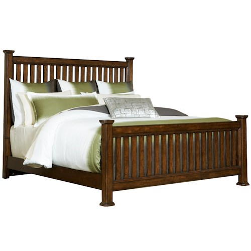 Broyhill Furniture Estes Park Queen Slat Poster Bed with Square Posts