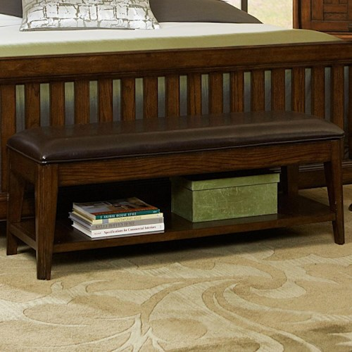Broyhill Furniture Estes Park Upholstered Seat Storage Bench with Shelf