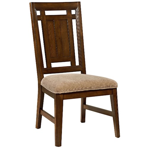 Broyhill Furniture Estes Park Dining Side Chair with Upholstered Seat and Pierced Back