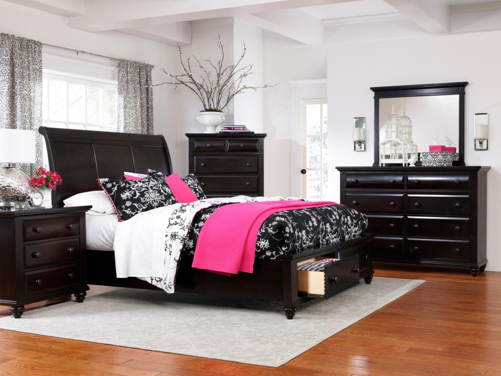 Shown with Nightstand, Sleigh Bed, Drawer Dresser and Landscape Mirror