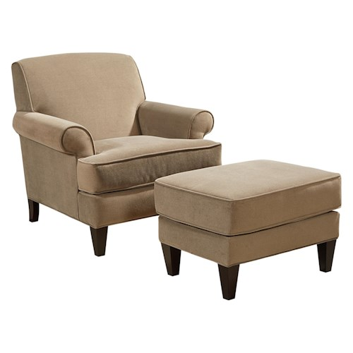 Broyhill Furniture Flint Transitional Chair and Ottoman Set with Tapered Wood Legs