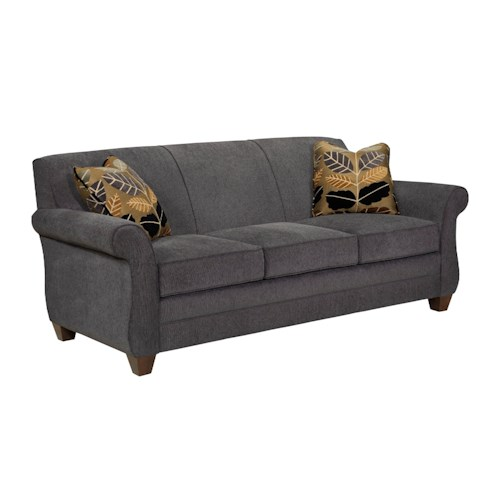 Broyhill Furniture Greenwich Transitional Sofa with Rolled Arms and Exposed Wood Legs