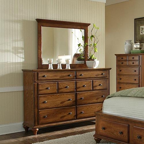 Broyhill Furniture Hayden Place 8 Drawer Dresser and Landscape Mirror Combination
