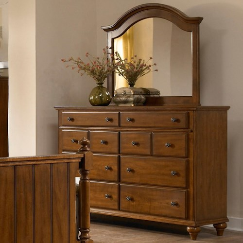 Broyhill Furniture Hayden Place 8 Drawer Dresser and Arched Mirror Combination