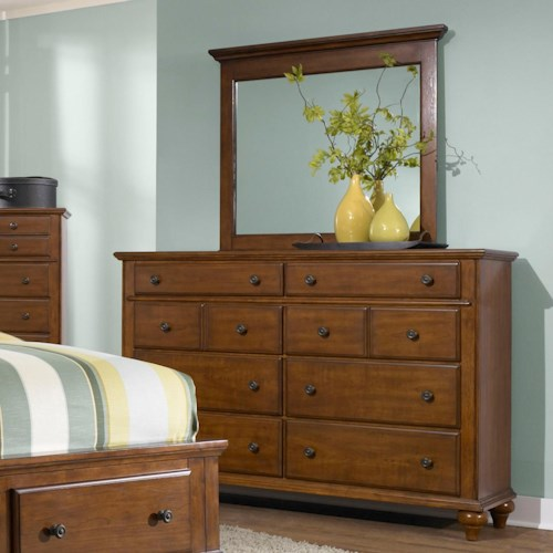 Broyhill Furniture Hayden Place 8 Drawer Dresser and Landscape Mirror Combination