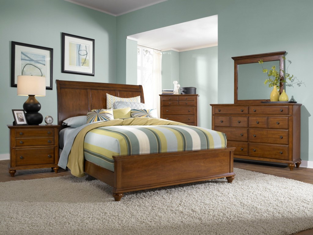 Dresser Shown with Chest, Mirror, Sleigh Headboard and Low Rise Footboard Bed, and Night Stand