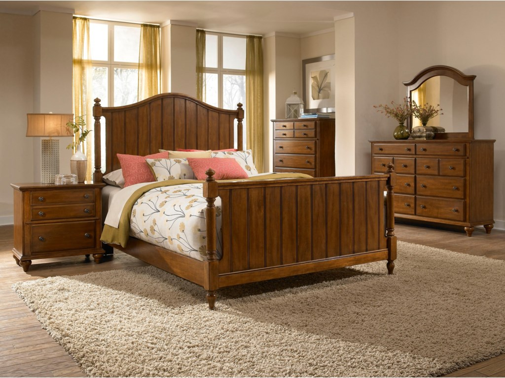 Mirror Shown with Dresser, Chest, Panel Headboard and Footboard Bed, and Night Stand