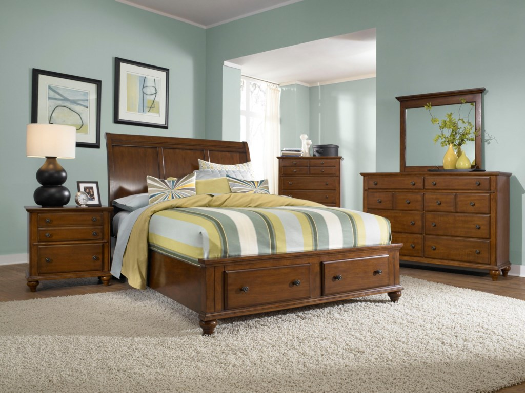 Bed Shown with Night Stand, Chest, Mirror, and Dresser