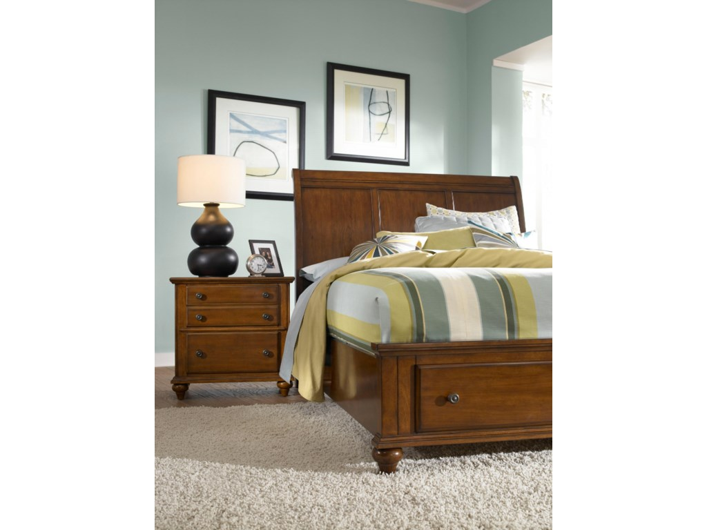Night Stand Shown with Sleigh Headboard and Storage Footboard Bed