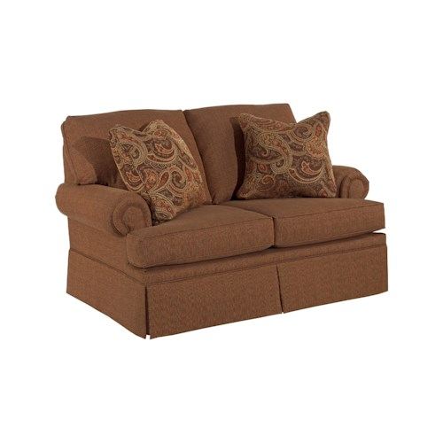 Broyhill Furniture Jenna Upholstered Love Seat with Rolled Arms
