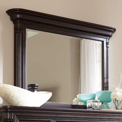 Broyhill Furniture Jessa Pillar Chesser Mirror with Elegant Crown Molding