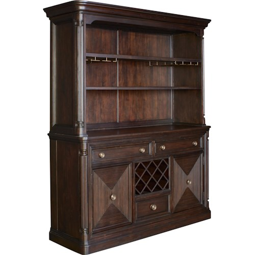 Broyhill Furniture Jessa Server and Hutch with Stemware and Built In Wine Bottle Storage