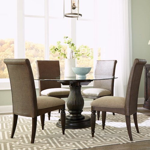 Broyhill Furniture Jessa 5 Piece Dining Set with Adjustable Base Round Glass Table