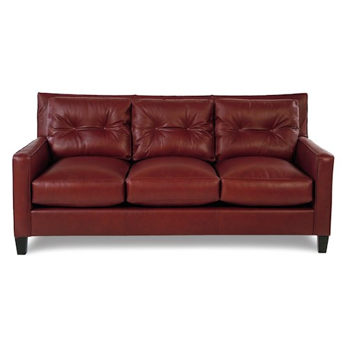 Broyhill Furniture Affinity Contemporary Leather Sofa w/ Tufted Pillow Back
