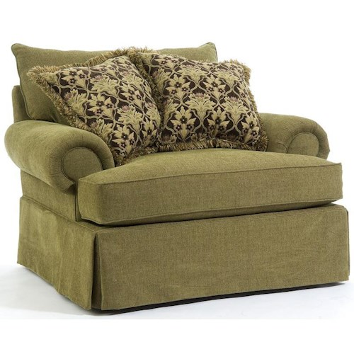 Broyhill Furniture Joella 3772 Chair and a Half with Rolled Arms and Skirt
