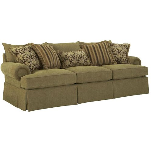 Broyhill Furniture Joella 3772 Sofa with Rolled Arms and Skirt