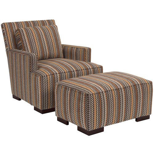 Broyhill Furniture Josie Contemporary Chair and Ottoman Set with Wide Wood Block Feet