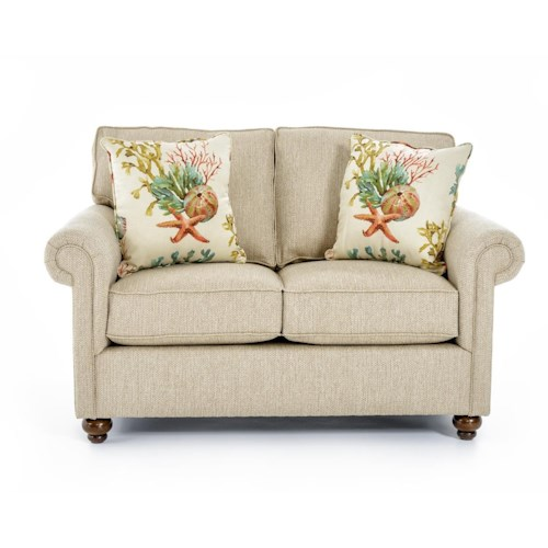 Broyhill Furniture Judd Traditional Loveseat with Rolled Arms and Turned Feet