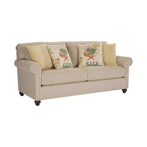 Broyhill Furniture Judd Traditional Queen IREST Sleeper Sofa with Rolled Arms and Turned Feet