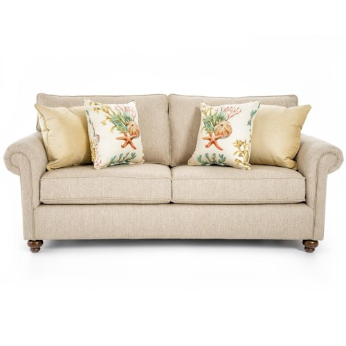 Broyhill Furniture Judd Traditional Queen Sleeper Sofa with Rolled Arms and Turned Feet