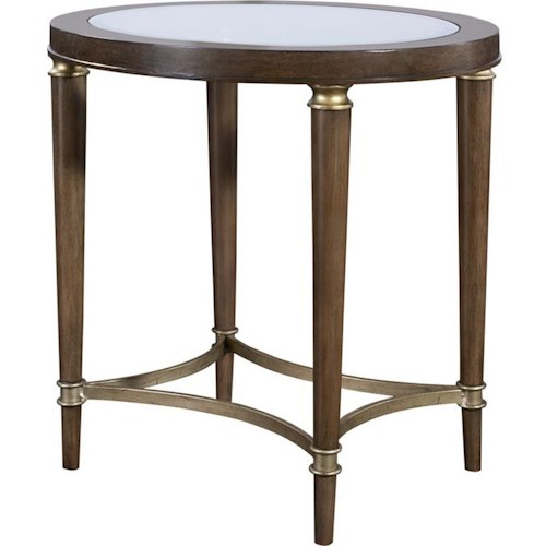 Broyhill Furniture Kirsten Oval Lamp Table with Glass Top